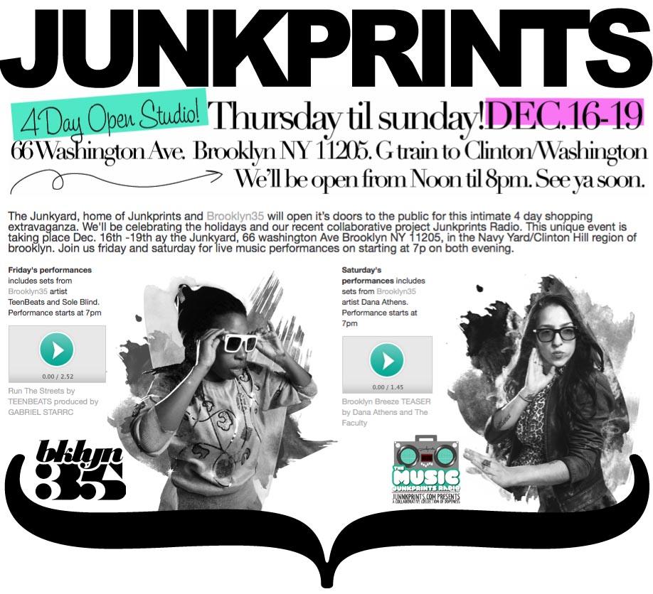 JUNKPRINTS.COM OPEN STUDIO LIVE PERFORMANCE FROM TEENBEATS DEC 17 2010 & DANA ATHENS DEC 18 2010